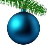 Realistic cyan matte Christmas ball or bauble with fir branch isolated on white background. Vector illustration. Vector realistic illustration cyan matte Stock Photography