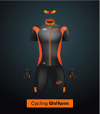 Realistic  cycling uniform template. Black and orange. Branding mockup. Bike or Bicycle clothing and equipment. Special kit: Stock Photography