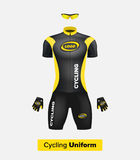 Realistic  cycling uniform template. Black and yellow. Branding mockup. Bike or Bicycle clothing and equipment. Special kit: Stock Image