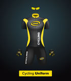 Realistic  cycling uniform template. Black and yellow. Branding mockup. Bike or Bicycle clothing and equipment. Special kit: Royalty Free Stock Images