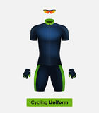 Realistic  cycling uniform template. Blue and green. Branding mockup. Bike or Bicycle clothing and equipment.  Royalty Free Stock Image