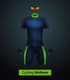 Realistic  cycling uniform template. Blue and green. Branding mockup.  Stock Photos