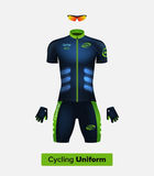 Realistic  cycling uniform template. Blue and green. Branding mockup. Stock Photography