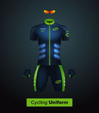 Realistic  cycling uniform template. Blue and green. Branding mockup.  Stock Photo