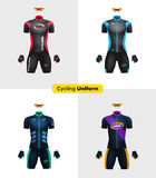 Realistic cycling uniforms. Branding mockup. Bike or Bicycle clothing and equipment. Special kit: short sleeve jersey, glov. Es and sunglasses. Front view vector illustration