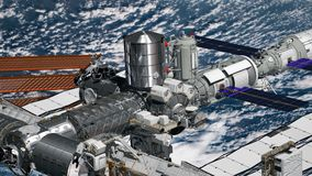 Realistic 3D Animation of International Space Station ISS revolving over earths atmosphere. Astronaut Spacewalk. Elements of this. Image furnished by NASA vector illustration