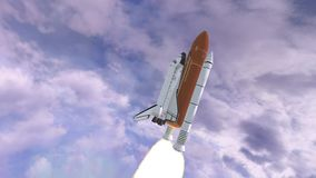 Realistic 3D Animation of Space Shuttle Launching over earths atmosphere. Elements of this video furnished by NASA. Realistic 3D Animation of Space Shuttle royalty free illustration