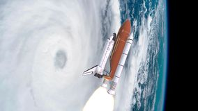 Realistic 3D Animation of Space Shuttle Launching over earths atmosphere and hurricane. Elements of this video furnished. By NASA stock video footage