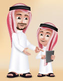 Realistic 3D Arab Teacher Man Character Teaching Boy. Student in Mobile Tablet About School Wearing Thobe for Studies. Editable Vector Illustration Royalty Free Stock Photos