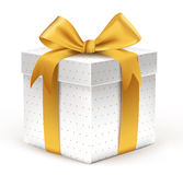 Realistic 3D Beautiful White Gift with Colorful Gold Ribbons Stock Photography