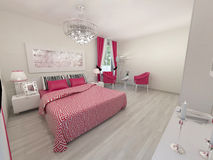 Realistic 3D bedroom. In white and pink colour Royalty Free Stock Photo