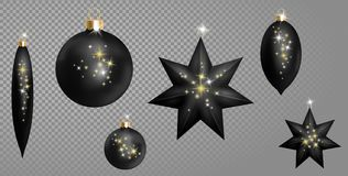 Realistic 3d Black Christmas Ball Fir Toys star shape golden silver sparkle. New Year tree decoration gold handling. Isolated on transparent grid design element Stock Images
