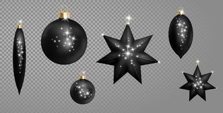 Realistic 3d Black Christmas Ball Fir Toys star shape golden silver sparkle. New Year tree decoration gold handling. Isolated on transparent grid design element Stock Photo