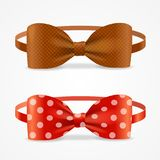 Realistic 3d Bow Tie Set. Vector. Realistic 3d Bow Tie Set Brown and with Droplets Accessory Of Hipsters, Dandy, Geek Man. Vector illustration of Element Cloth Stock Images