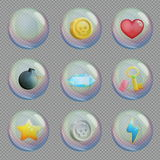 Realistic 3d bubbles with bonus items. Realistic 3d soap water or oxygen bubbles with bonus treasure items inside, for space, underwater and other scenes. Game Stock Photography