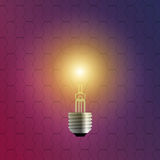 Realistic 3d bulb with hexagonal background. Vector Royalty Free Stock Image
