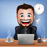 Realistic 3D Businessman Character Working on Office Desk Table with Laptop. Vector Illustration Stock Photography