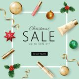 Realistic 3d Christmas holiday sale web banner template.. Realistic 3d Christmas holiday sale web banner template. Cosmetic makeup product ad decoration holly Stock Images