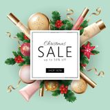 Realistic 3d Christmas holiday sale web banner template.. Cosmetic makeup product ad decoration holly branches. New Year special offer square frame promotional Royalty Free Stock Image