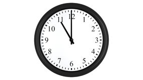 Realistic 3D clock set at 11 o'clock. Realistic 3D render of a wall clock set at 11 o'clock,  on a white background Stock Photo