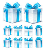 Realistic 3D Collection of Colorful Blue Pattern Gift Box. With Ribbon and Bow for Birthday Celebration, Christmas, Party, Anniversary and Eid Mubarak. Set of Stock Photography
