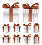 Realistic 3D Collection of Colorful Brown Pattern Gift Box Stock Photo