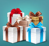 Realistic 3D Collection of Colorful Pattern Gift Box Stock Photography