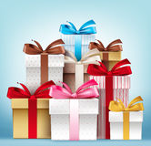 Realistic 3D Collection of Colorful Pattern Gift Box Stock Image
