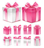 Realistic 3D Collection of Colorful Pink Pattern Gift Box Stock Photos