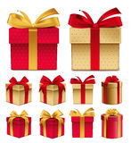 Realistic 3D Collection of Colorful Red Pattern Gift Box Stock Photo