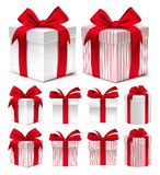 Realistic 3D Collection of Colorful Red Pattern Gift Box Stock Photos