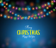 Realistic 3D Colorful Christmas Lights Hanging Stock Image