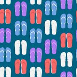 Realistic 3d Colorful Flip Flops Beach Slippers Sandals Seamless Pattern Background. Vector. Realistic 3d Colorful Flip Flops Beach Slippers Sandals Seamless Royalty Free Stock Photography