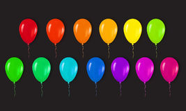 Realistic 3d Colorful Glossy Balloons Flying for Happy Birthday, Royalty Free Stock Photography