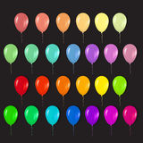 Realistic 3d Colorful Glossy Balloons Flying for Happy Birthday, Royalty Free Stock Photo