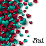 Realistic 3D Colorful Red and turquoise Romantic Valentine Hearts Valentines love. Vector illustration Background. Royalty Free Stock Photo