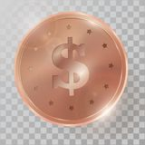 Realistic 3d copperr coin vector illustration. On transparent background Stock Photos
