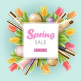 Realistic 3d cosmetic spring sale banner template. Square promotional poster tulip flower blossom blue sky blur light. Golden package pink frame flat lay vector Royalty Free Stock Photos