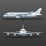 Realistic 3d detail airplane, commercial jet isolated vector illustration Royalty Free Stock Photos