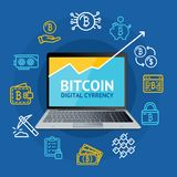 Realistic 3d Detailed Bitcoin Currency Concept. Vector. Realistic 3d Detailed Bitcoin Currency Concept with Portable Laptop Computer Display, Graph and Color Stock Photography