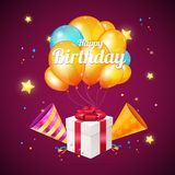 Realistic 3d Detailed Color Balloons and Present Box Birthday Card Concept. Vector. Realistic 3d Detailed Color Balloons and Present Box Birthday Card Concept Stock Images
