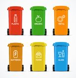 Realistic 3d Detailed Color Recycled Bin. Vector. Realistic 3d Detailed Color Recycled Bin Plastic, Organic, Metal, Batteries, Paper and Glass Waste Concept Royalty Free Stock Photography