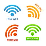 Realistic 3d Detailed Color Wifi Signs Icons Set. Vector. Realistic 3d Detailed Color Wifi Signs Icons Set Technology Signal Free, Private and Public. Vector Royalty Free Stock Photo