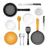 Realistic 3d Detailed Kitchenware or Kitchen Utensils Set. Vector. Realistic 3d Detailed Kitchenware or Kitchen Utensils Set Include of Spoon, Pan, Fork, Knife stock illustration