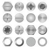 Realistic 3d Detailed Metal Screws and Heads Set. Vector vector illustration