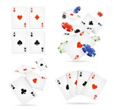 Realistic 3d Detailed Poker Card and Chip Set. Vector. Realistic 3d Detailed Poker Card and Chip Set for Game in Casino. Vector illustration of Cards ans Chips vector illustration