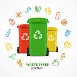 Realistic 3d Detailed Recycled Bins witch Color Outline. Icons Round Design Template Line Concept for Ad. Vector illustration Stock Image