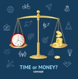 Time or Money Concept. Vector. Realistic 3d Detailed Time or Money on Scales Concept Business Symbol Saving and Profit Balance Success Elements. Vector Royalty Free Stock Photo
