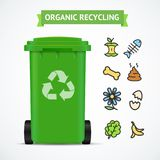 Realistic 3d Detailed Trash Bin Organic Recycling Concept. Vector. Realistic 3d Detailed Trash Bin Organic Recycling Concept witch Color Outline Icons Include of Royalty Free Stock Photo