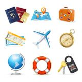 Realistic 3d Detailed Travel and Tourism Color Icon Set. Vector. Realistic 3d Detailed Travel and Tourism Color Icon Set Include of Passport, Plane, Map, Globe Royalty Free Stock Images